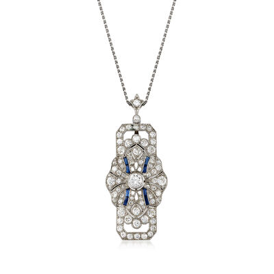 C. 1950 Vintage Synthetic Sapphire and 3.50 ct. t.w. Diamond Pendant Necklace in Platinum, , default