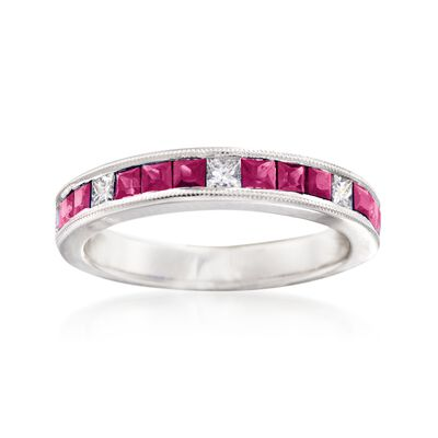Gregg Ruth .90 ct. t.w. Ruby and .21 ct. t.w. Diamond Ring in 18kt White Gold    , , default