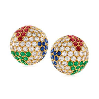 C. 1980 Vintage Hammerman Brothers 4.80 ct. t.w. Multi-Gem and 3.25 ct. t.w. Diamond Earrings in 18kt Yellow Gold, , default