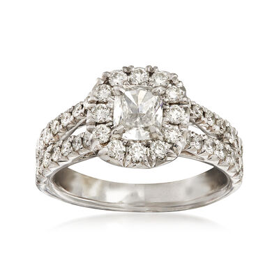 Henri Daussi 1.40 ct. t.w. Diamond Halo Engagement Ring in 18kt White Gold  , , default