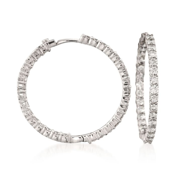 Roberto Coin 2.84 Carat Total Weight Diamond In-And-Out Hoops in 18-Karat White Gold, , default