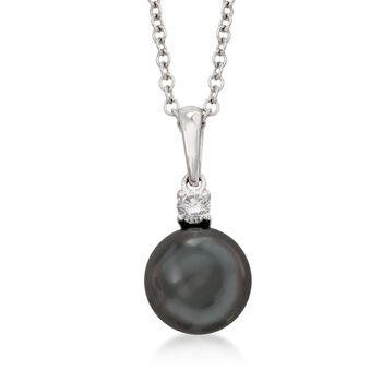 "Mikimoto Black Cultured South Sea Pearl and Diamond Necklace in 18-Karat White Gold. 18"", , default"