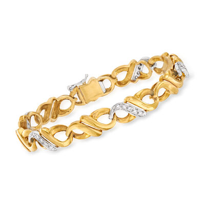 C. 1980 Vintage .40 ct. t.w. Diamond Infinity-Link Bracelet in 18kt Two-Tone Gold