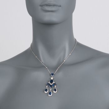 """C. 2000 Vintage 9.40 ct. t.w. Sapphire and 2.00 ct. t.w. Diamond Chandelier Necklace in 18kt White Gold. 16"""", , default"""