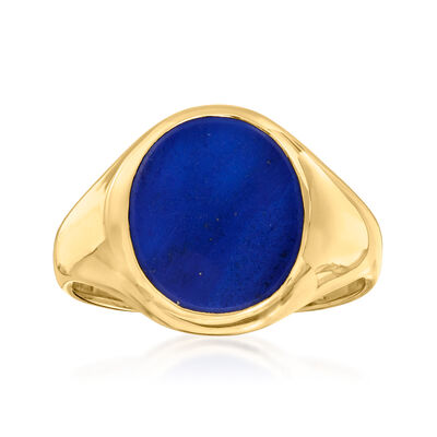 C. 1970 Vintage Oval Lapis Ring in 14kt Yellow Gold