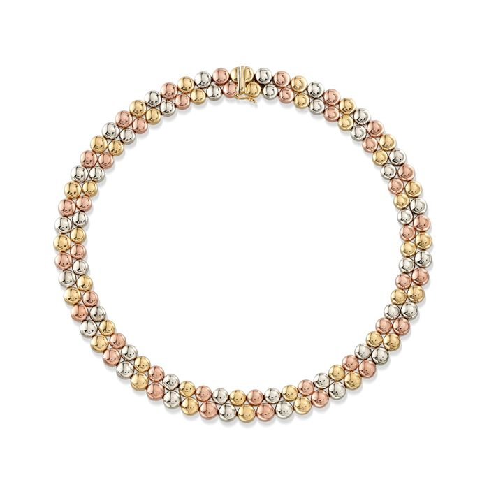 C. 1990 Vintage 18kt Tri-Colored Gold Double-Bead Necklace