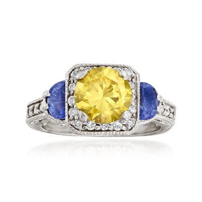 C. 1990 Vintage 2.20 Carat Yellow CZ, .70 ct. t.w. Tanzanite and .40 ct. t.w. Diamond Ring in Platinum, , default