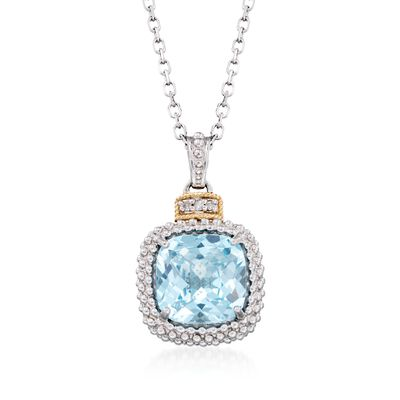 "Phillip Gavriel ""Popcorn"" 4.50 Carat Blue Topaz Pendant Necklace with Diamond Accents"