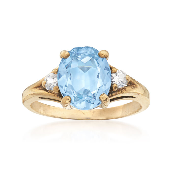 C  1960 Vintage 2 50 Carat Blue Spinel and  16 ct  t w  White Sapphire Ring  in 10kt Yellow Gold  Size 6