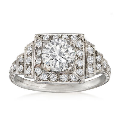 C. 1930 Vintage 1.47 ct. t.w. Diamond Ring in Platinum