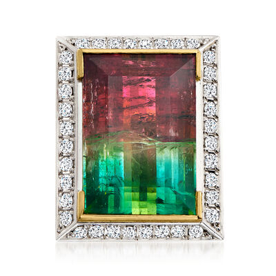 C. 1980 Vintage 23.72 Carat Watermelon Tourmaline and .78 ct. t.w. Diamond Ring in 18kt Yellow Gold with Platinum