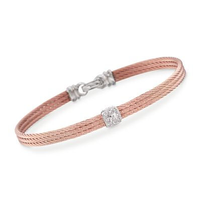 "ALOR ""Classique"" Diamond Station Rose Cable Bracelet With 18kt White Gold, , default"
