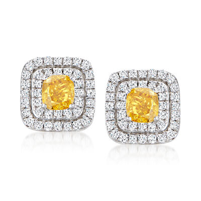 C. 2000 Vintage .60 ct. t.w. Yellow and White Diamond Earrings in 14kt White Gold