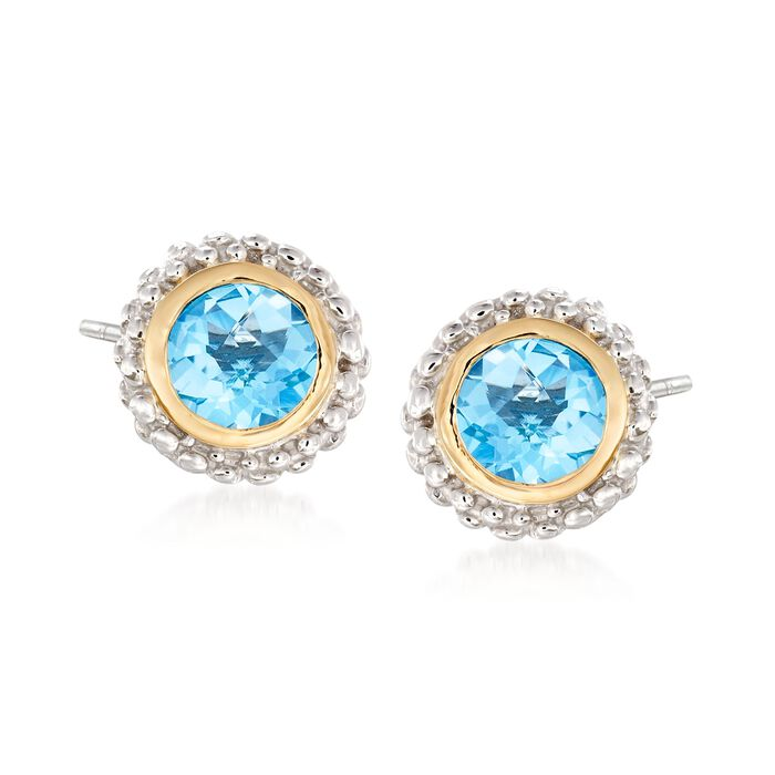 "Phillip Gavriel ""Popcorn"" .98 ct. t.w. Blue Topaz Stud Earrings in Sterling Silver and 18kt Yellow Gold"