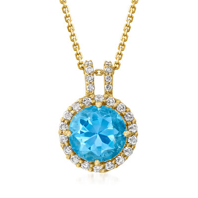 C. 1990 Vintage Tressora 3.10 Carat Sky Blue Topaz and .38 ct. t.w. Diamond Pendant Necklace in 18kt Yellow Gold