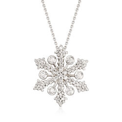 "Roberto Coin ""Tiny Treasures"" .32 ct. t.w. Diamond Snowflake Necklace in 18kt White Gold, , default"