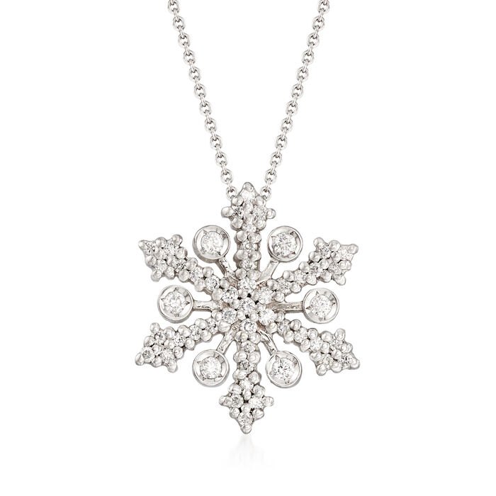 "Roberto Coin ""Tiny Treasures"" .32 ct. t.w. Diamond Snowflake Necklace in 18kt White Gold. 16.5"", , default"