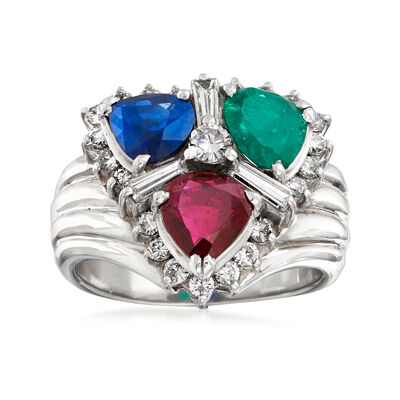 C. 1980 Vintage 2.25 ct. t.w. Multi-Gemstone and .80 ct. t.w. Diamond Cluster Ring in Platinum, , default