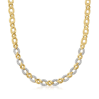 C. 1980 Vintage 1.00 ct. t.w. Diamond Oval-Link Necklace in 14kt Yellow Gold