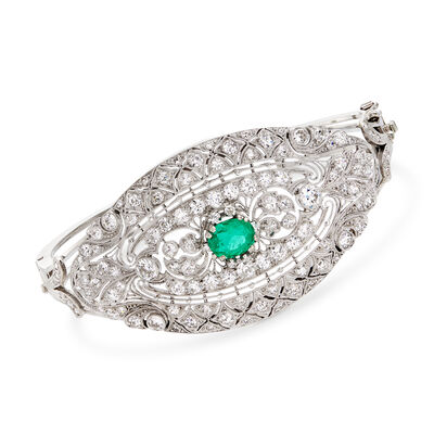 3.25 ct. t.w. Diamond and 1.05 Carat Emerald Filigree Bangle Bracelet in 18kt White Gold, , default