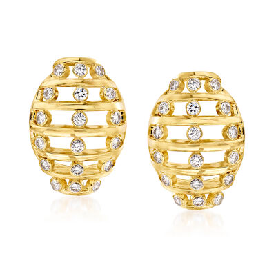 C. 1990 Vintage 1.50 ct. t.w. Diamond Open-Space Cage Earrings in 18kt Yellow Gold
