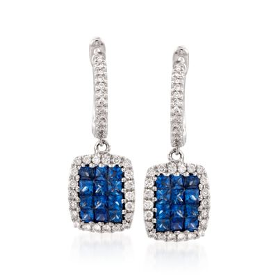 Gregg Ruth .81 ct. t.w. Sapphire and .30 ct. t.w. Diamond Hoop Earrings in 18kt White Gold
