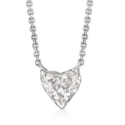 C. 1990 Vintage 1.02 Carat Diamond Heart Necklace in 14kt White Gold