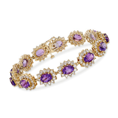C. 1980 Vintage 17.55 ct. t.w. Amethyst and 9.75 ct. t.w. Diamond Bracelet in 14kt Yellow Gold