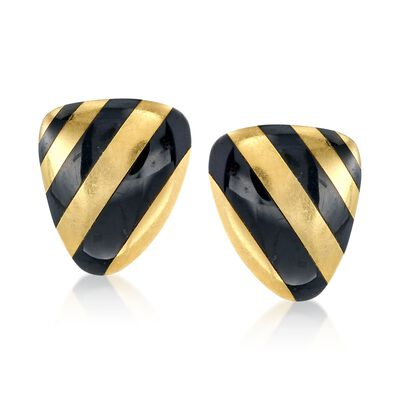 C. 1990 Vintage Angela Cummings Black Onyx Striped Clip-On Earrings in 18kt Yellow Gold, , default