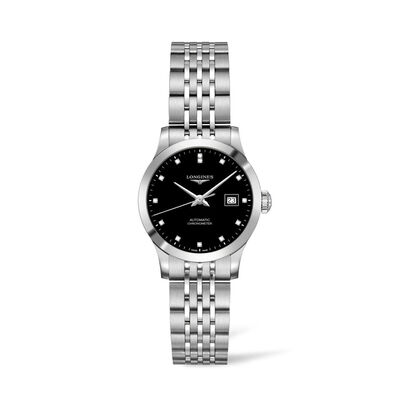 Longines Record Women's 30mm .37 ct. t.w. Diamond Automatic Watch in Stainless Steel