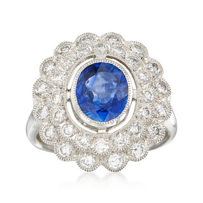C. 2000 Vintage 1.85 Carat Sapphire and .90 ct. t.w. Diamond Ring in Platinum