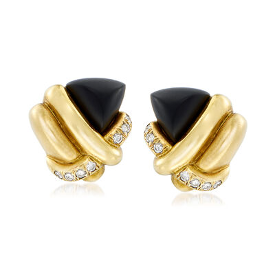 C. 1980 Vintage Black Onyx and .70 ct. t.w. Diamond Knot Earrings in 18kt Yellow Gold, , default