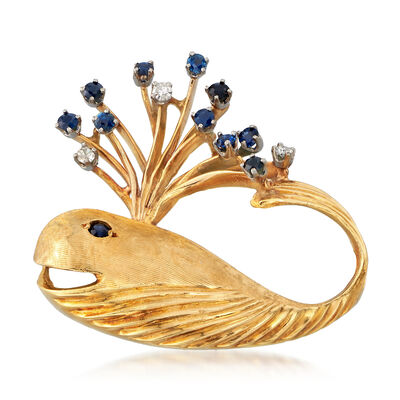 C. 1970 Vintage .50 ct. t.w. Sapphire and .10 ct. t.w. Diamond Whale Pin in 18kt Yellow Gold, , default