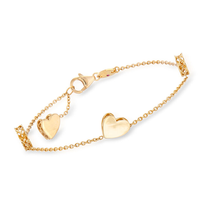 """Roberto Coin """"Amore"""" 18kt Yellow Gold Heart Bracelet"""
