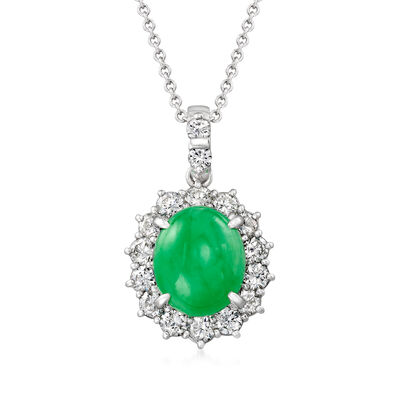 C. 1980 Vintage Jade and .75 ct. t.w. Diamond Pendant Necklace in Platinum and 18kt White Gold