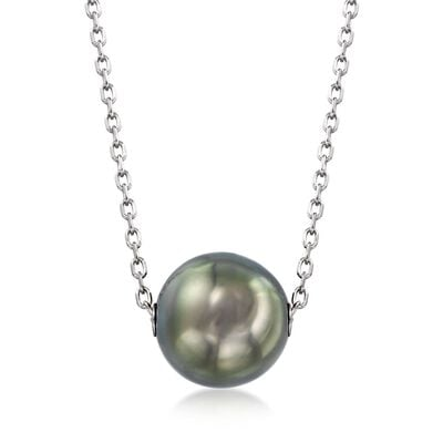 Mikimoto 10mm A+ Black South Sea Pearl Necklace in 18kt White Gold, , default