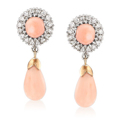 C. 1970 Vintage Coral and .40 ct. t.w. Diamond Drop Earrings in 14kt White Gold