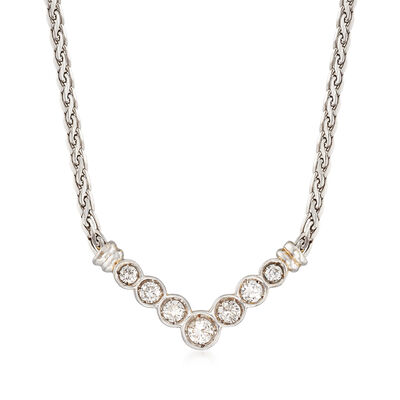 C. 1990 Vintage 1.00 ct. t.w. Diamond V-Shaped Necklace in 18kt White Gold , , default