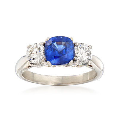 1.50 Carat Sapphire and .85 ct. t.w. Diamond Ring in Platinum
