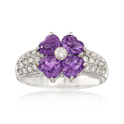 C. 2000 Vintage 1.50 ct. t.w. Amethyst and .41 ct. t.w. Diamond Floral Ring in 18kt White Gold, , default