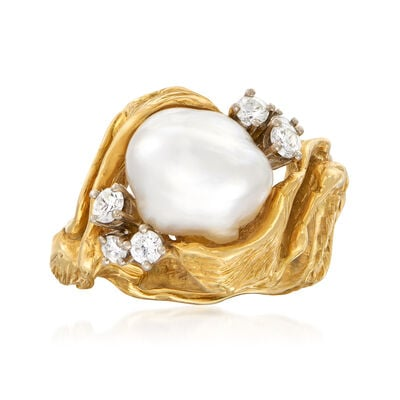 C. 1970 Vintage 11x10mm Cultured Pearl and .35 ct. t.w. Diamond Ring in 18kt Yellow Gold, , default