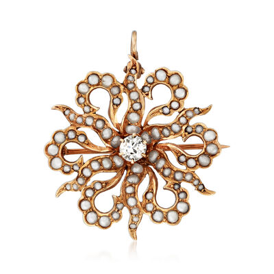 C. 1930 Vintage Cultured Pearl and .30 Carat Diamond Flower Pin/Pendant in 14kt Yellow Gold