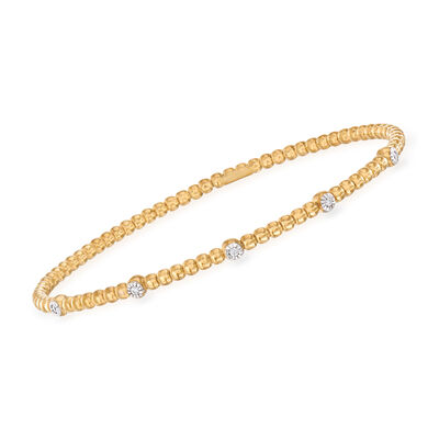 "Phillip Gavriel ""Popcorn"" Beaded Cuff Bracelet with Diamond Accents in 14kt Yellow Gold, , default"