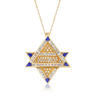 C. 1990 Vintage 3.30 ct. t.w. Diamond and Lapis Star of David Pin/Pendant Necklace in 18kt Yellow Gold