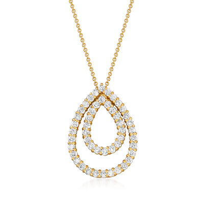 C. 1980 Vintage 2.50 ct. t.w. Diamond Teardrop Pendant Necklace in 14kt Yellow Gold