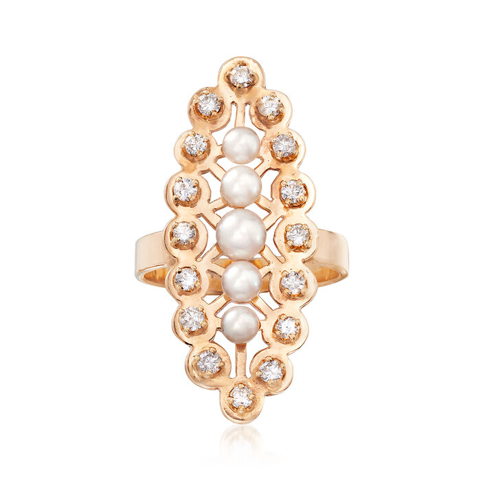 C. 1960 Vintage Cultured Pearl and .55 ct. t.w. Diamond Ring in 14kt Yellow Gold. Size 6.5, , default