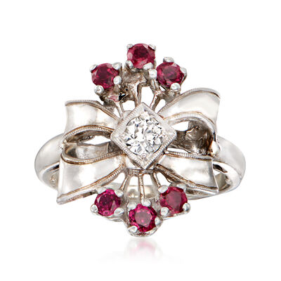C. 1950 Vintage .60 ct. t.w. Simulated Ruby Bow Ring with .45 Carat Diamonds in 14kt White Gold