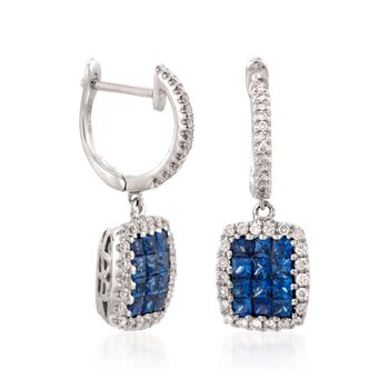 Gregg Ruth .81 Carat Total Weight Sapphire and .30 Carat Total Weight Diamond Drops in 18-Karat White Gold, , default