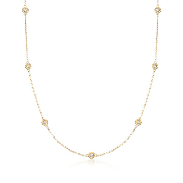 """Roberto Coin Barocco .43 Carat Total Weight Diamond Station Necklace in 18-Karat Yellow Gold. 16"""""""