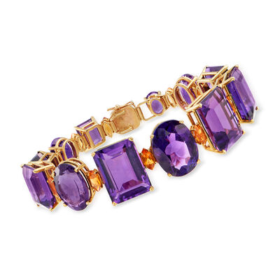 C. 1970 Vintage 100.20 ct. t.w. Amethyst and 4.80 ct. t.w. Citrine Bracelet in 14kt Yellow Gold
